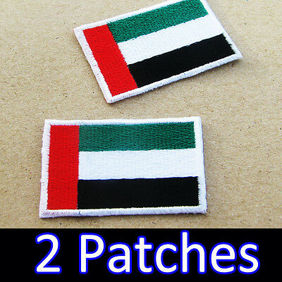 2 x United Arab Emirates Flag Embroidered Iron On Patch UAE Dubai Abu Dhabi DIY