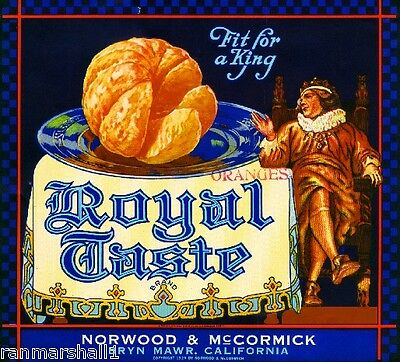 Bryn Mawr Redlands Royal Taste Orange Citrus Fruit Crate Label Art Print