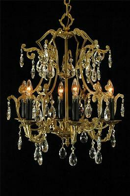 Antique Restored Solid Brass & Crystal Vintage 6 Arm European Chandelier