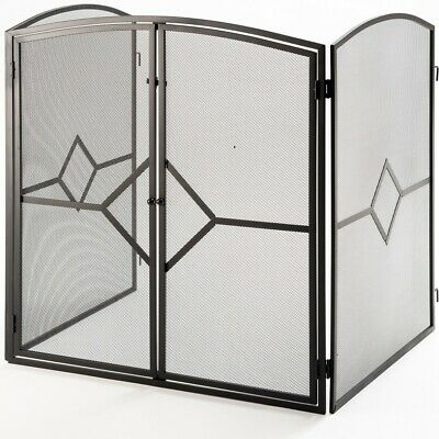 """Fire Stove Guard Screen H32"""" Firescreen with Front Door and Rear Safety Latch ©"""