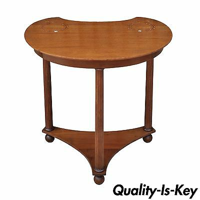 Vintage French Empire Style Mahogany Mother of Pearl Inlaid Kidney Side Table