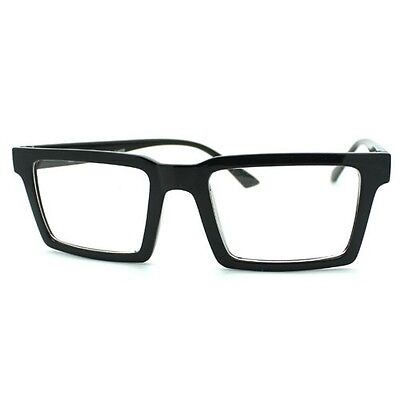 8226600fd66 SQUARE RECTANGULAR CLEAR Lens Glasses Flat Top Metal Plated Frame ...