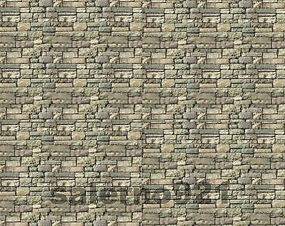 Two Stone Walls Of Irregular Rectangular Stones Multicolor Decal 1:18/1:24Scale