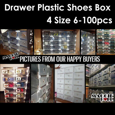 Storage Shoe Boxes Clear Plastic Drawer Box Wardrobe Organiser Home Garage