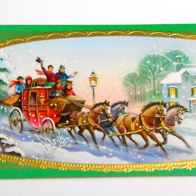 VINTAGE lot of 4 Victorian Christmas sleigh ride 60s long GREETING UNUSED cards
