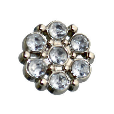 13mm PLASTIC CLEAR ACRYLIC RHINESTONE FLOWER CLUSTER SEWING CRAFT SHANK BUTTONS