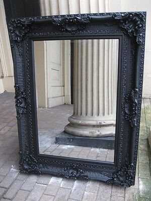 VERSACE BLACK ANTIQUE ORNATE LARGE FRENCH OVERMANTLE WOOD MIRROR WALL 4FT x 3FT
