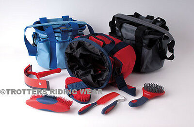 Rhinegold Horse Grooming Kit Bag - With  6 Grooming Items Grey Red Blue