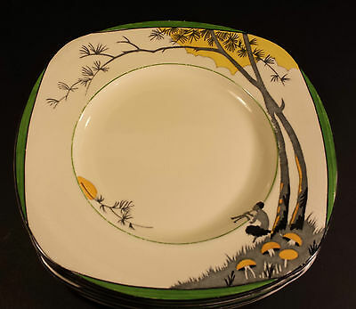 "FABULOUS BURLEIGH WARE PAN DESIGN ART DECO 9.5"" DINNER PLATE HAND PAINTED"