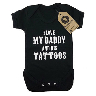 Metallimonsters My Daddys Tattoos vest black alternative rock metal baby clothes