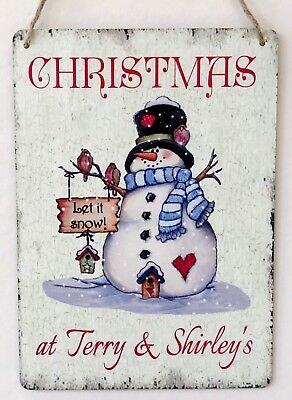 Christmas Sign Personalised Handmade Shabby Vintage Chic Snowman Sign