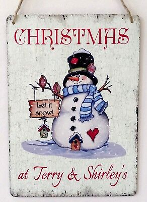 Christmas Signs Personalised Snowman Sign Handmade Shabby Vintage Chic