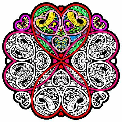 Hearts Mandala - Large 20x20 Inch Fuzzy Velvet Coloring Poster