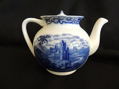 Teapot-Watteau Staffordshire #555592-England-Flow Blue-Very Good Condition