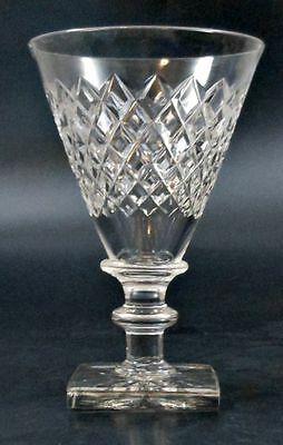 Crystal Water Goblets Hawkes Delft Diamond Cutting Square Rayed Foot