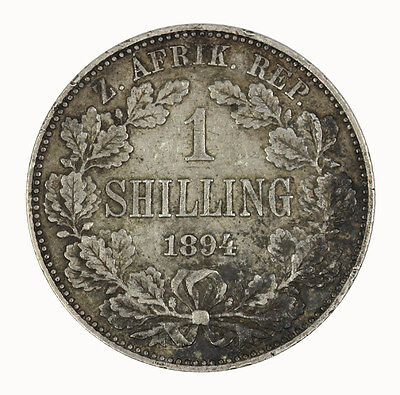 South Africa 1894 Shilling Coin EF RARE