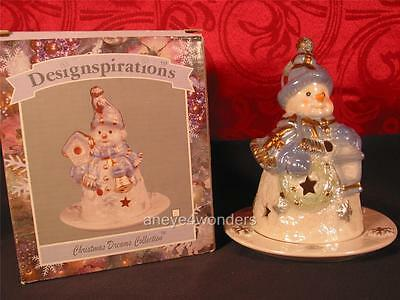 VOTIVE CANDLE DISPLAY by Designspirations, Christmas, Winter, Snowman, NIB. Mint