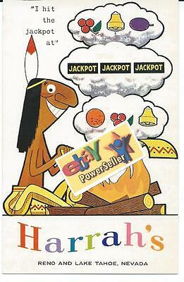 "HARRAH'S  CASINO  POSTCARD ""I Hit The Jackpot"" 1960s  INDIAN SMOKE SIGNALS"