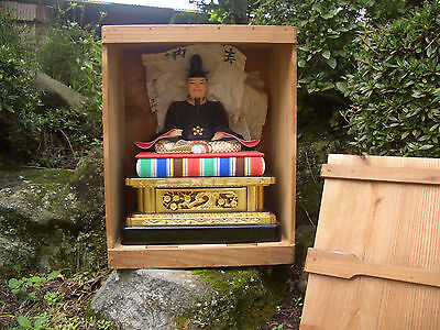 Japanese antique all wooden emperor in original box gold beautiful painted #8294