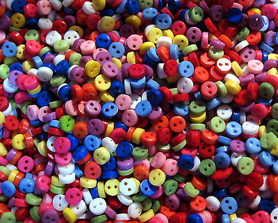 50 x MIXED COLOURS 6mm Wide Tiny Dolls / Craft Buttons Pack  (B00)