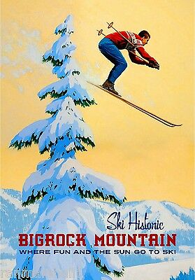 Ski Bigrock Mountain Maine Winter United States Travel Advertisement Poster