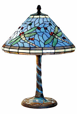 58Cm Tiffany Style Table Lamp Dragonfly Glass Shade Mosaic Base + Light Bulbs