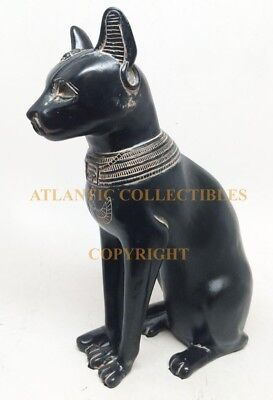 "Ancient Egyptian Black & Gold Finish Goddess Bastet in Cat Form Figurine 8.25""H"
