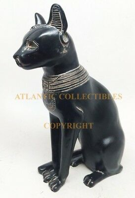"Ancient Egyptian Black & Gold Finish Goddess Bastet in Cat Form Figurine 5.5""H"