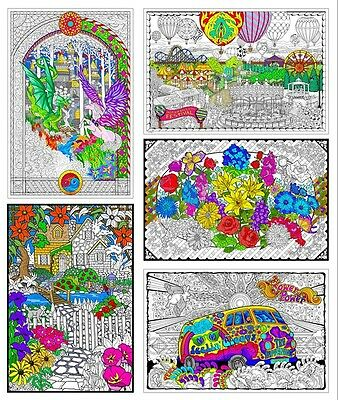 Giant Coloring Posters - 22x32.5 Inch Wall Poster 5-Pack