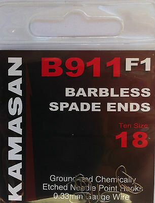 KAMASAN B911F1 SPADE END BARBLESS HOOKS (all sizes available)