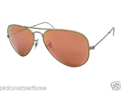 RAY BAN 3025 AVIATOR RB3025 019/Z2 58MM SILVER FRAME  BROWN/PINK MIRROR NEW