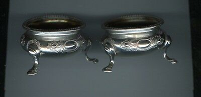 2 Master Salt Dish Bowl by Barnard Sterling Silver London 1875 3 footed dishes