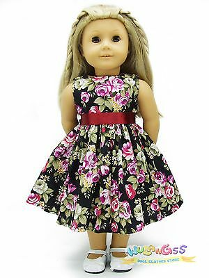 """Doll Clothes fits 18"""" American Girl Handmade Black Floral Pattern Summer Dress"""