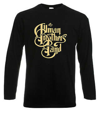 THE ALLMAN BROTHERS Band Rock Blues Icon Long Sleeve Black T-Shirt Size S-3XL