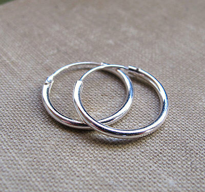 Thick  2 mm Sterling Silver 925  Hoop  Earrings - Size 10 - 40 mm  !!   New  !!