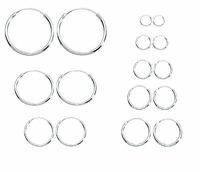 Sterling Silver 925  Hoop  Earrings - Size  8,10,12 14,16,18 20,25,30,40,50 MM !
