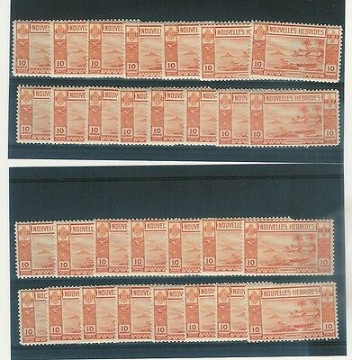 NEW HEBRIDES 1938 GOLD CURRENCY FRENCH 10c UNMOUNTED MINT 30 stamps SGF54 cv £75