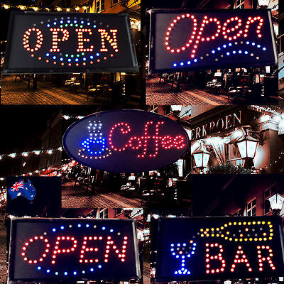 Flashing LED Sign OPEN BAR COFFEE 48x24cm Shop Signboard Logo Light ESIGN48