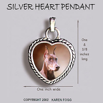 DOBERMAN PINSCHER DOG Red Crop Ears Dobie - Ornate HEART PENDANT Tibetan Silver