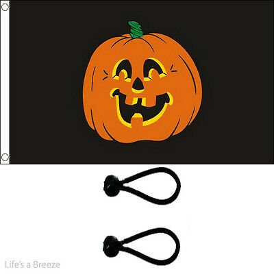 Halloween Pumpkin Face Flag 5 x 3ft Poles Or Windsocks Poles.With FREE BALL TIES