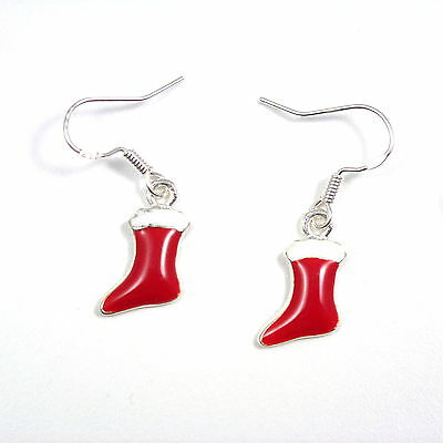 Christmas 2cm red stocking dangly drop earrings sterling silver hooks enamel