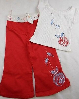 new 4y BALU girls designer hand painted red trousers & white cropped summer top