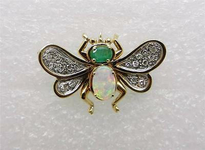 14K Yellow Gold-White Gold Vintage Opal Emerald Diamond  Bee Pin Brooch - Lb2258