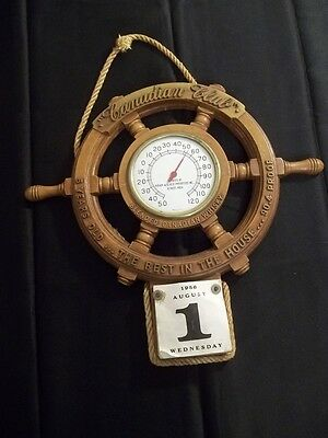 VINTAGE 1956 HIRAM WALKER CANADIAN CLUB WHISKY THERMOMETER CALENDER SHIPS WHEEL