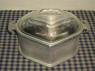 Vintage Guardian Service Triangle Roaster with Original Glass Lid Made in the US
