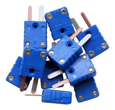 10 x T type thermocouple male mini connectors, plug, flat pins, blue