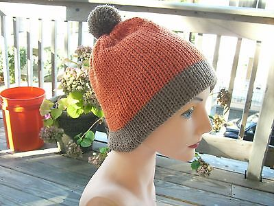 Handmade Knit hat South Park cosplay Kenny orange and brown