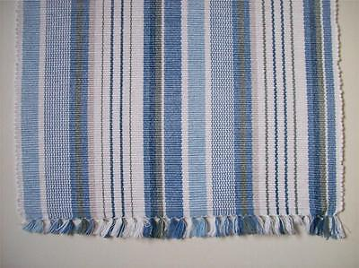 "CAPE COD Coastal Beach Cottage Cotton 36"" Table Runner Blue Gray White Stripe"
