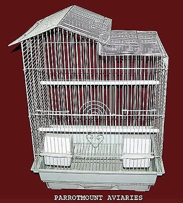 HOUSE TOP BIRD CAGE FOR  PARAKEETS, FINCHES, CANARIES & SIMILAR BIRDS 16x12x22