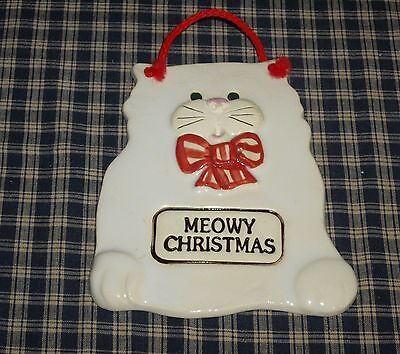 1994 Smoky Mountain Pottery Handcrafted MEOWY CHRISTMAS Cat Plaque  TOO CUTE!